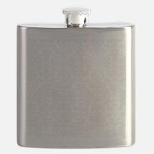 White  Light Gray Floral Damasks Flask