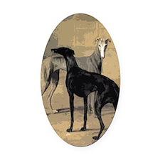 Greyhound Card Oval Car Magnet