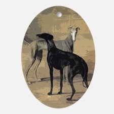 Greyhound Card Oval Ornament