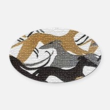 Leaping Hound Bucket Bag Oval Car Magnet