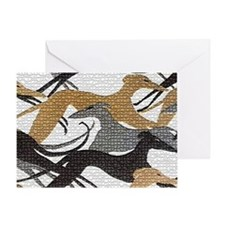 Leaping Hound Bucket Bag Greeting Card