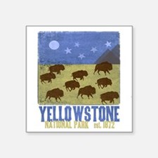 "Yellowstone Bison Scene Square Sticker 3"" x 3"""