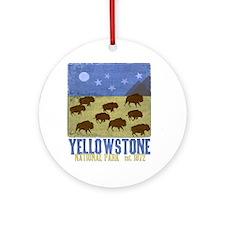 Yellowstone Bison Scene Round Ornament