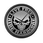 Live Free Ride Hardcore Large Wall Clock