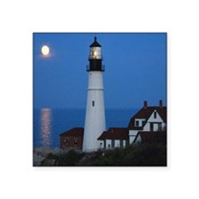 """Super Moons Lighthouse View Square Sticker 3"""" x 3"""""""