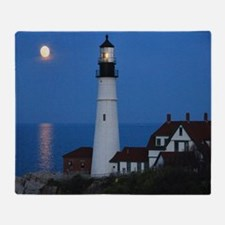 Super Moons Lighthouse View Throw Blanket