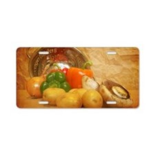Cascading Vegetables Aluminum License Plate