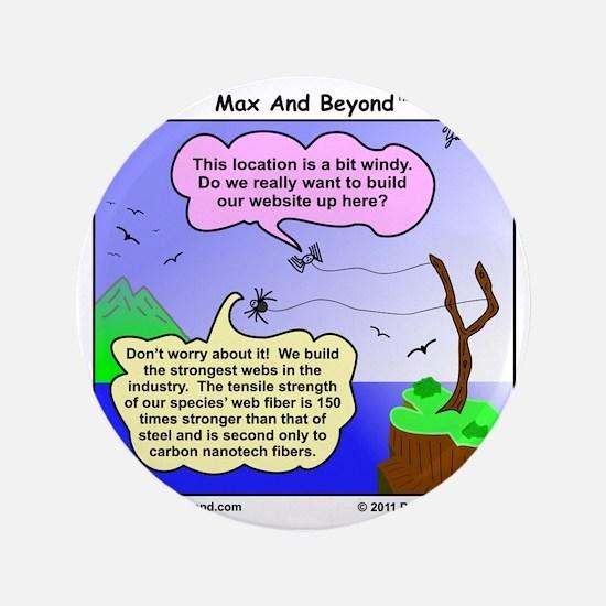 """Windy Spider Website Cartoon 3.5"""" Button"""