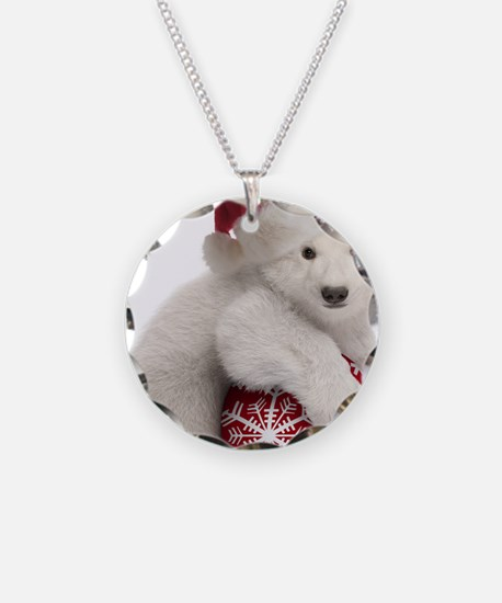 Polar Bear Cub Christmas Necklace