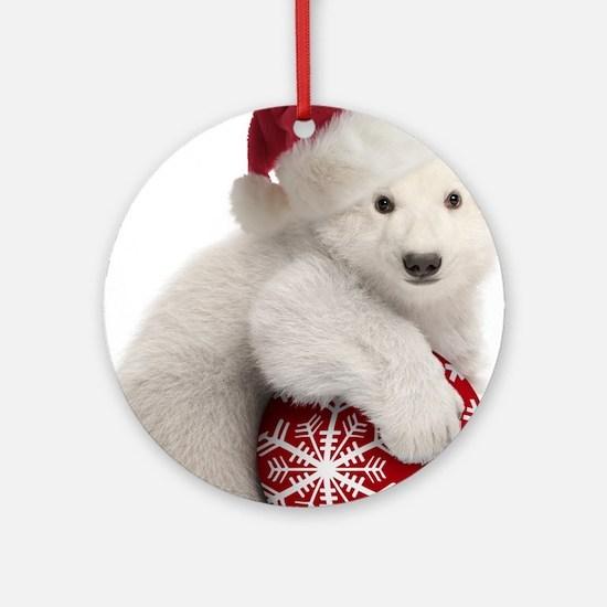 Polar Bear Cub Christmas Round Ornament