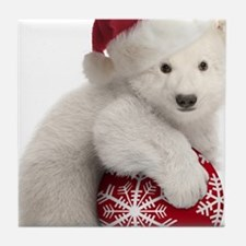Polar Bear Cub Christmas Tile Coaster