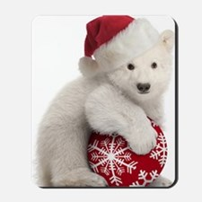 Polar Bear Cub Christmas Mousepad