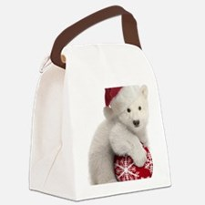 Polar Bear Cub Christmas Canvas Lunch Bag
