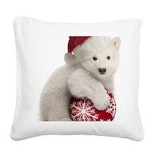 Polar Bear Cub Christmas Square Canvas Pillow