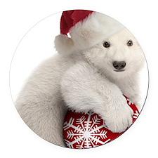 Polar Bear Cub Christmas Round Car Magnet