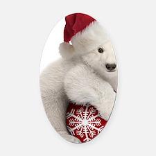 Polar Bear Cub Christmas Oval Car Magnet