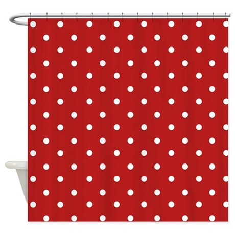Red And White Polka Dots Shower Curtain By Zenchic