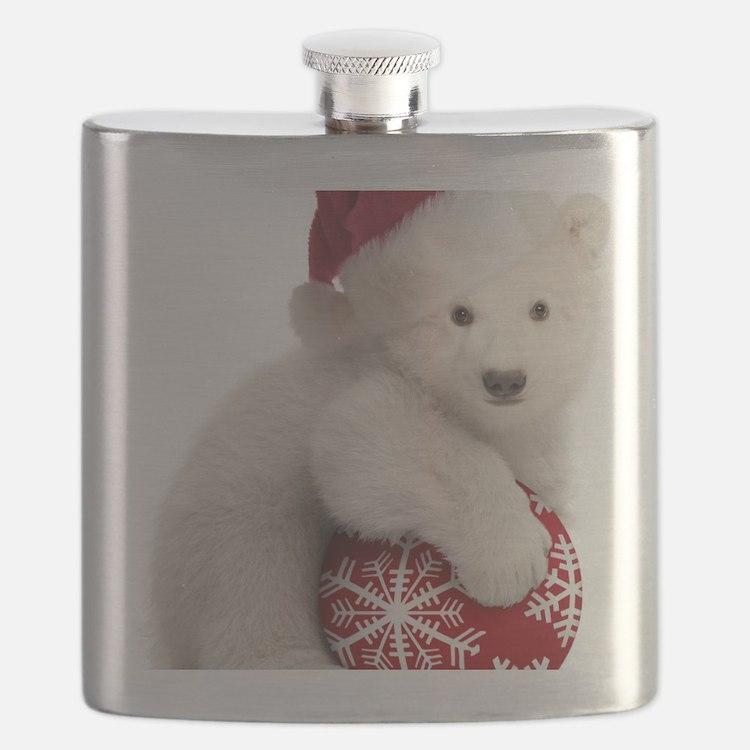 Polar Bear Cub Kids Christmas Flask