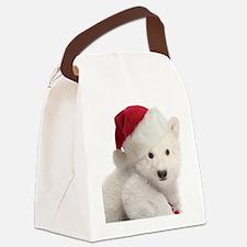 Polar Bear Cub Christmas Canvas Lunch Bag