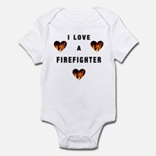 I Love A Firefighter Infant Bodysuit