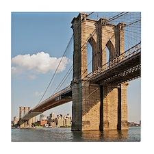 Brooklyn Bridge seen in lower Manhatt Tile Coaster