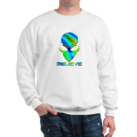 Greenish Blue Believe Alien Sweatshirt