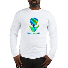 Greenish Blue Believe Alien Long Sleeve T-Shirt