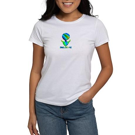 Greenish Blue Believe Alien Women's T-Shirt