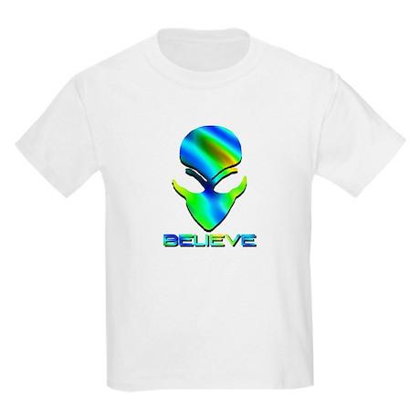 Greenish Blue Believe Alien Kids T-Shirt