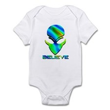 Greenish Blue Believe Alien Infant Bodysuit