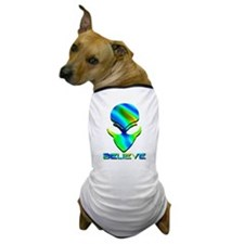 Greenish Blue Believe Alien Dog T-Shirt