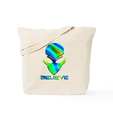 Greenish Blue Believe Alien Tote Bag
