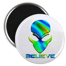 Greenish Blue Believe Alien Magnet