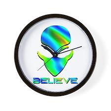 Greenish Blue Believe Alien Wall Clock
