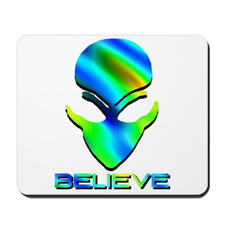 Greenish Blue Believe Alien Mousepad