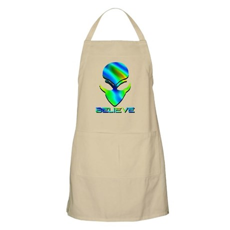 Greenish Blue Believe Alien BBQ Apron