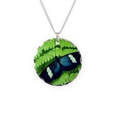 Butterfly on leaf. Necklace