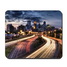 Downtown Minneapolis skyline and light t Mousepad