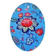 Blue Jacobian Pattern Oval Ornament