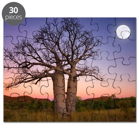 Full moon on sunset over boab trees Puzzle