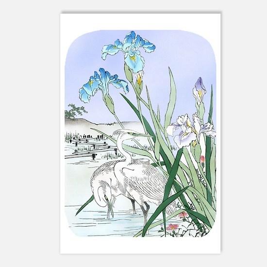 PwrBnk Herons Blue Irises Postcards (Package of 8)