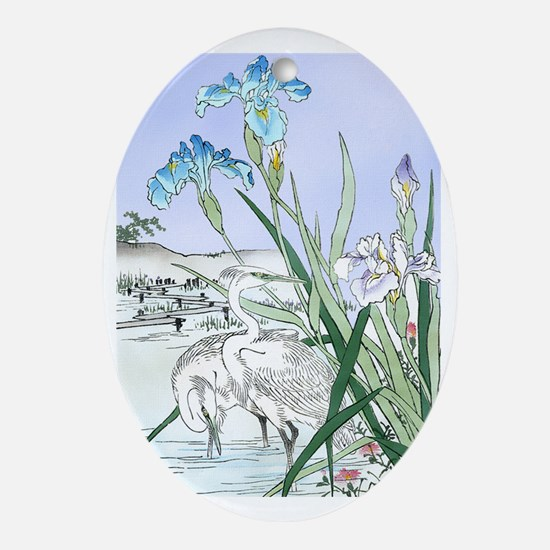 PwrBnk Herons Blue Irises Oval Ornament