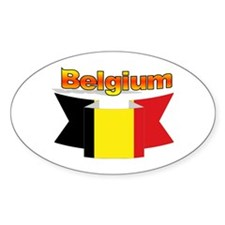 The Belgian flag ribbon Oval Decal