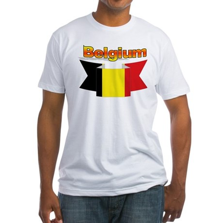 Belgian flag ribbon Fitted T-Shirt