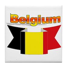 The Belgian flag ribbon Tile Coaster