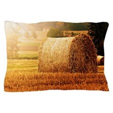 Hay bale on field. Pillow Case