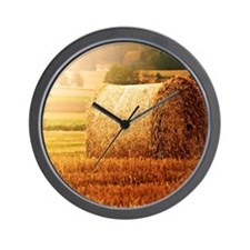 Hay bale on field. Wall Clock