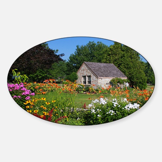 Country Garden Cottage Sticker (Oval)