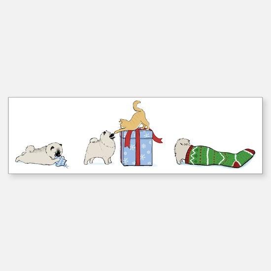 Keesie Puppies Christmas Sticker (Bumper)