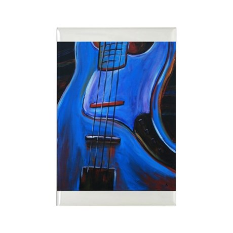 Electric Blue Bass Art Rectangle Magnet (10 pack)